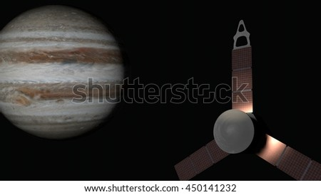 Juno spacecraft flying to Jupiter. 3D Animation of Juno spacecraft with Jupiter in background.  - stock photo