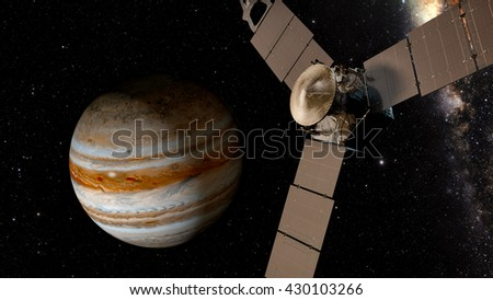 jupiter and satellite juno, 3D rendering Juno requires a five-year cruise to Jupiter, arriving around July 4, 2016. Elements of this image furnished by NASA - stock photo