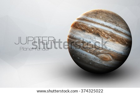 Jupiter - High resolution 3D images presents planets of the solar system. This image elements furnished by NASA. - stock photo