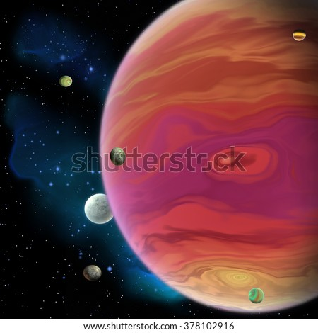 Jupiter Planet - Jupiter is the largest gas giant planet in our solar system with 67 moons and has a large red spot vortex below the equator. - stock photo
