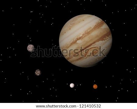Jupiter with its anticyclonic storm appearing as an eye and four of its famous satellites - Io, Europa, Ganymede and Callisto - by night - stock photo