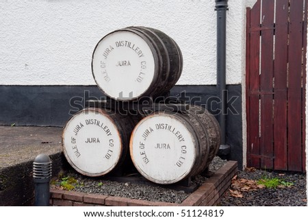 Jura distillery whisky barrels