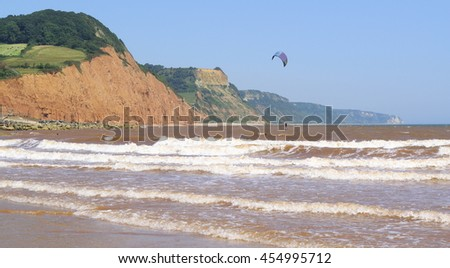 Jurassic Coast in Sidmouth, Devon - stock photo