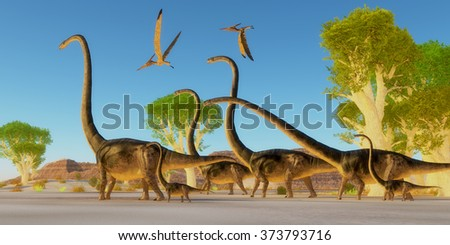 Jurassic Omeisaurus Forest - Two Pteranodon reptile birds fly over a herd of Omeisaurus dinosaurs traveling through a Jurassic forest. - stock photo