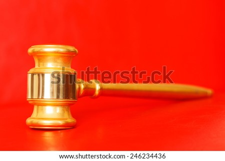 Juridical concept with Gavel, selective focus on metal part - stock photo