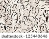 Just a lot of question marks on white papers. - stock photo