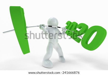 Just a metaphor with barbell and years sign.  - stock photo