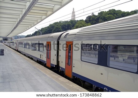 Just arrived train on the station of luik, Belgium. - stock photo