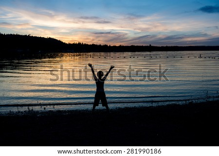 Just live the moment - like in childhood, when every sunset is a wonder.. - stock photo