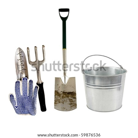 just love to work in the garden! - stock photo