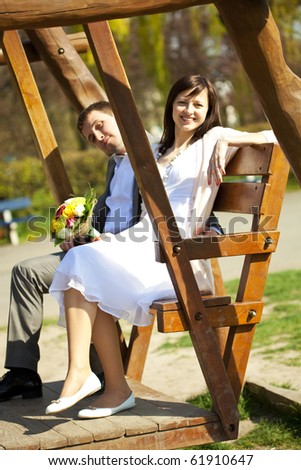 just  married  at swing - stock photo