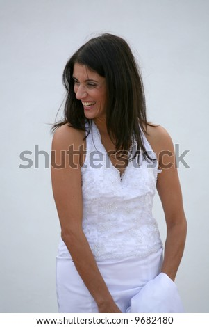 Just Married - beautiful smiling bride - stock photo