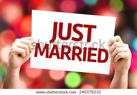 Just Married card with colorful background with defocused lights - stock photo