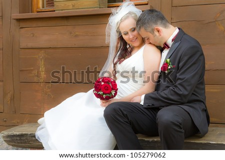 Just Married couple in a romantic scene - stock photo