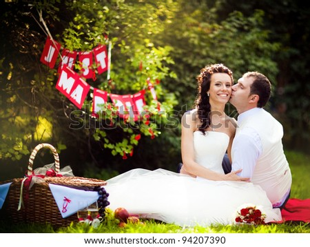 Just married couple on a picnic - stock photo