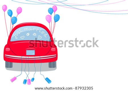 Just Married. Rear view car with cans tied to the tail bumper and balloons. Wedding announcement. - stock photo