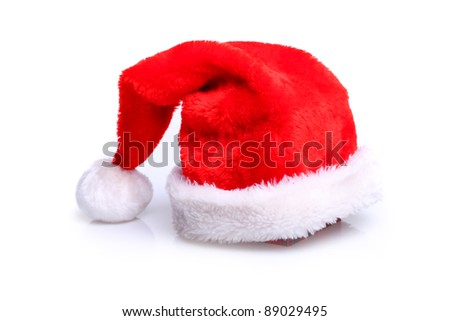 Just red christmass santa's hat at white background - stock photo