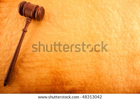 Justice Backgrounds (Gavel on  Burning Old Paper) - stock photo