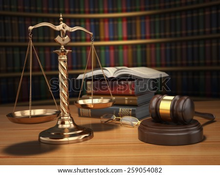 Justice concept. Gavel,  golden scales and books in the library with dof effect. 3d - stock photo