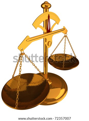 Justice concept - Gold Balance isolated an white background- 3D render image.