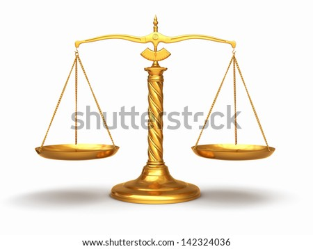 Justice concept. Gold scales on white isolated background. 3d - stock photo
