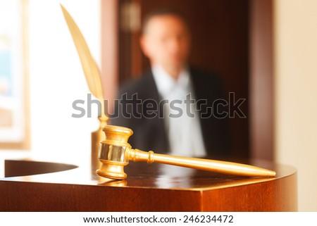 Justice concept, selective focus on nearest part ,lens blur f/x - stock photo