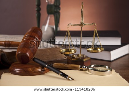 Justice concept with gavel on dark background