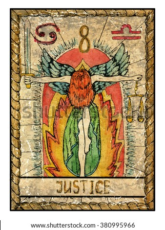 Justice.  Full colorful deck, major arcana. The old tarot card, vintage hand drawn engraved illustration with mystic symbols. Woman holding sword and scales against fire background - stock photo