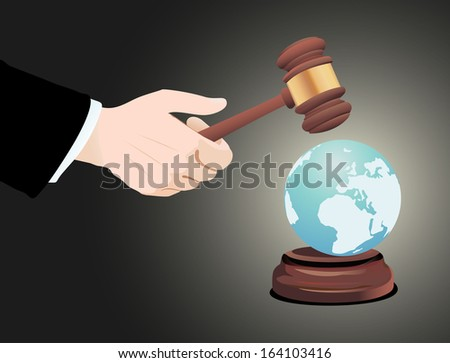 Justice Gavel with Earth Globe - stock photo
