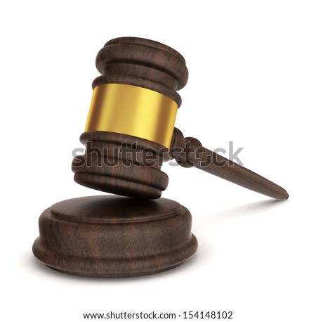 Justice hammer. 3d illustration on white background