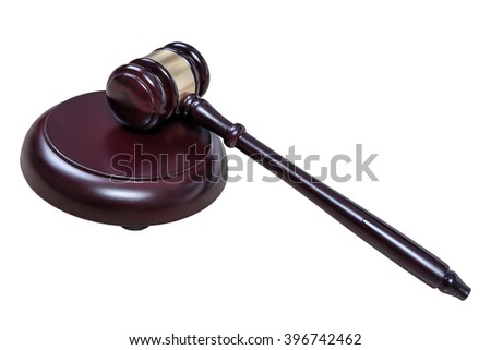 Justice hammer or judge gavel made from wooden isolated on white background - stock photo
