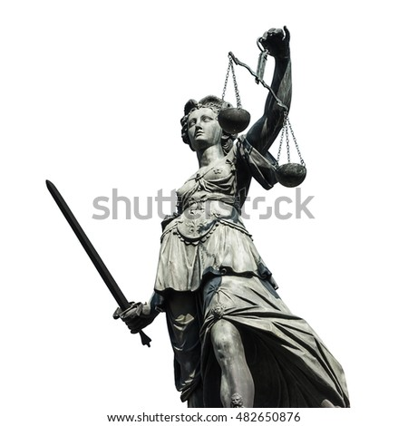 justice - justizia on white background