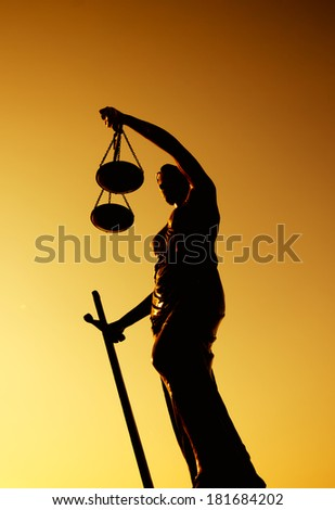 Justice Lady Silhouettes - stock photo