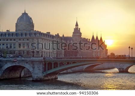 Justice Palace at sunset - Paris - stock photo