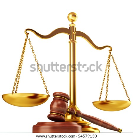 Justice scale and wood gavel - stock photo