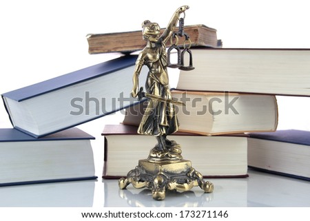Justice Statue and books. Lawyer background - stock photo