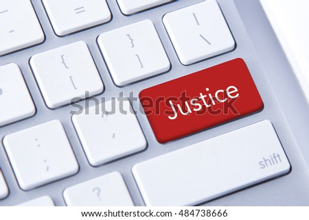 Justice word in red keyboard buttons