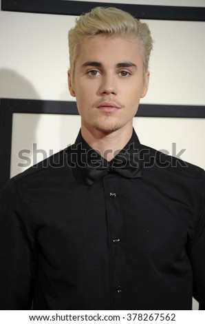 Justin Bieber at he 58th GRAMMY Awards held at the Staples Center in Los Angeles, USA on February 15, 2016. - stock photo