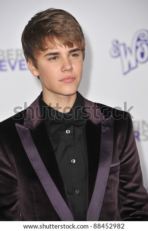 "Justin Bieber at the Los Angeles premiere of his new movie ""Justin Bieber: Never Say Never"" at the Nokia Theatre LA Live. February 8, 2011  Los Angeles, CA Picture: Paul Smith / Featureflash"