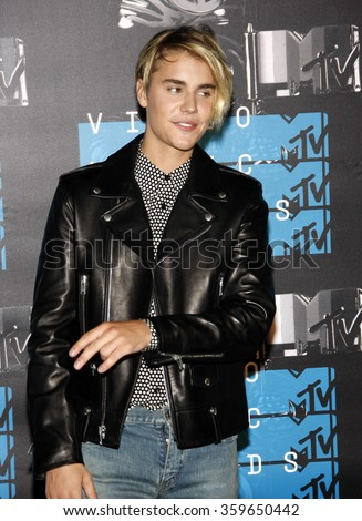 Justin Bieber at the 2015 MTV Video Music Awards held at the Microsoft Theatre in Los Angeles, USA on August 30, 2015.  - stock photo