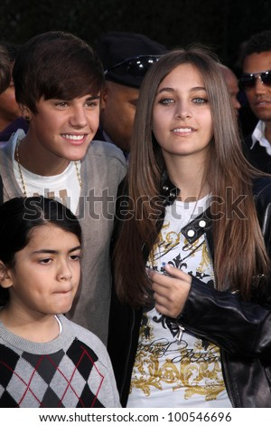 Justin Bieber, Paris Jackson, Blanket Jackson at Michael Jackson Immortalized at Grauman's Chinese Theatre, Hollywood, CA 01-26-12 - stock photo