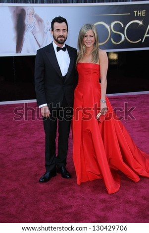 Justin Theroux, Jennifer Aniston at the 85th Annual Academy Awards Arrivals, Dolby Theater, Hollywood, CA 02-24-13 - stock photo