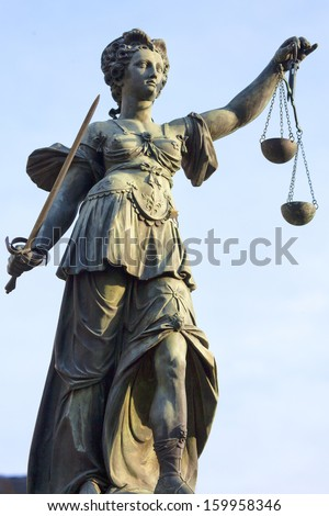 Justitia in Frankfurt Main, Germany - stock photo