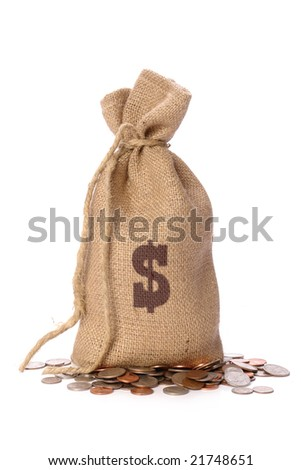 Jute bag with dollar sign stamp filled with American dollar coins over white background - stock photo