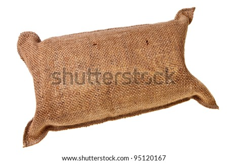 Jute full sack isolated over white background. - stock photo