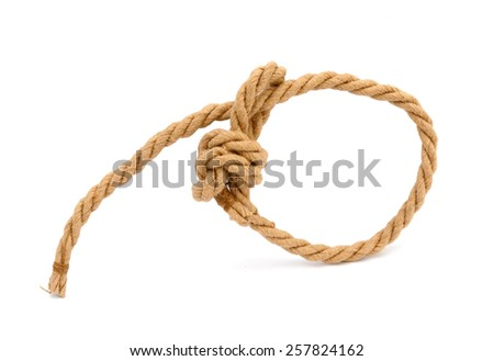 Jute Rope with cowboy knot isolated on white - stock photo