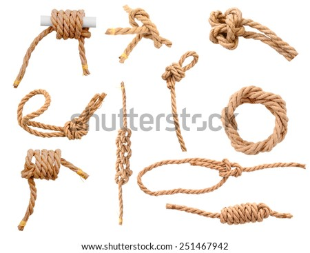 Jute Ropes with Reef Knot isolated on white background - stock photo