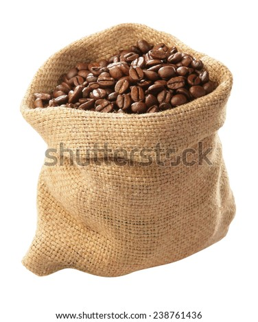 jute sack with coffee beans - stock photo