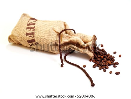 Jute sack with coffee beans isolated on a white background