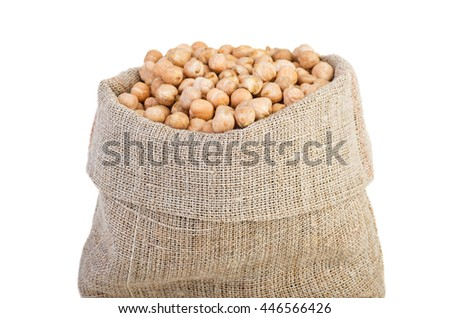 Jute sack with dried pea and legume beans isolated on white background - stock photo